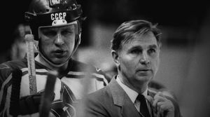 Young Slava Fetisov with coach