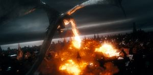 Dragon Smaug destroying a city in The Battle of the Five Arm