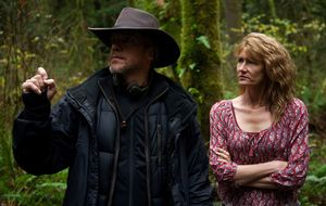 Director Jean-Marc Vallée and Laura Dern on the set of Wild