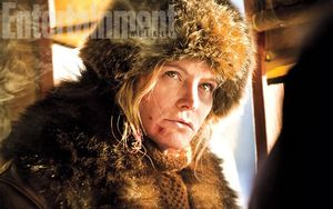 Jennifer Jason Leigh as outlaw Daisy Domergue in The Hateful