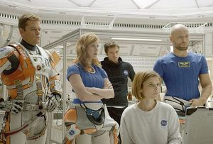 Kate Mara and Jessica Chastain in The Martian