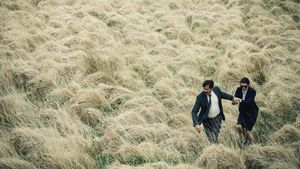 Colin Farrell and Rachel Weisz in big field in The Lobster