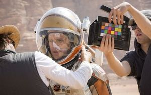 Matt Damon behind the scenes of The Martian
