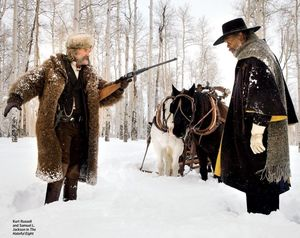 Kurt Russell, big gun and Samuel L. Jackson in The Hateful E