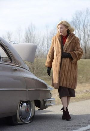 Cate Blanchett wears fancy coat, breaks down car in 1950's C