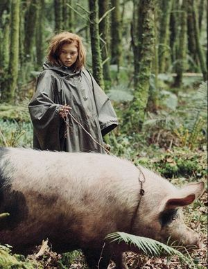 Léa Seydoux with big pig in The Lobster