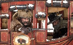 Kurt Russell and Samuel L. Jackson Travel in a Stagecoach in