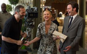 Judd Apatow, Amy Schumer and Bill Hader on the set of Trainw