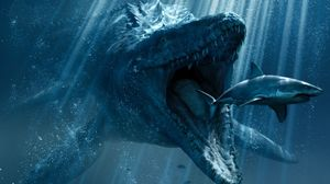 Jurassic World underwater Dinosaur eating shark