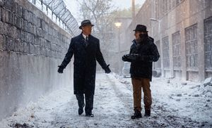 Tom Hanks and Steven Spielberg on the set of Bridge of Spies