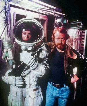 Sigourney Weaver and Ridley Scott on the set of 'Alien' (197
