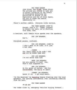 Page Three of Max Landis 'Fantastic Four' Screenplay