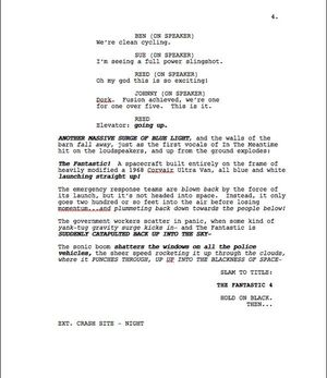 Page Four of Max Landis 'Fantastic Four' Screenplay