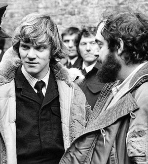 Malcolm McDowell and Stanley Kubrick on the set of 'A Clockw