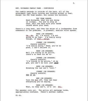 Page Two of Max Landis 'Fantastic Four' Screenplay