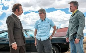 Vince Gilligan, Peter Gould and Bob Odenkirk on the set of '