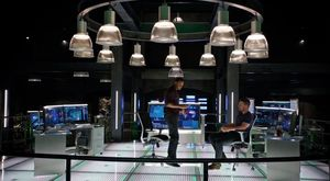 John Diggle & Oliver Queen in new Arrow lair, photo credit @