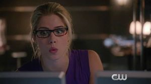 Felicity Smoak trying to solve Ray Palmer mystery