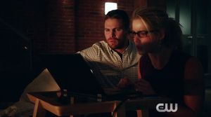 Felicity Smoak & Oliver Queen talk to Ray Palmer, who is ali