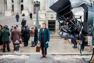 Eddie Redmayne on the set of 'Fantastic Beasts and Where to