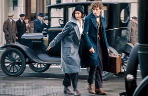 Katherine Waterston and Eddie Redmayne on the street in 'Fan