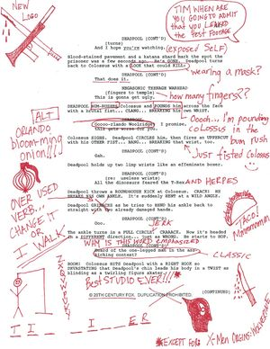 Deadpool has offered us a glimpse at his script, with some h