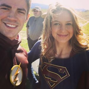 First image of The Flash and Supergirl side by side on Set f
