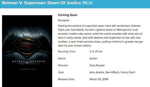 AMC Theaters Website Confirms Batman v Superman Run-time