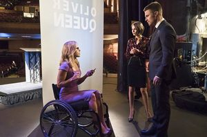 Felicity, Thea, Oliver mayoral debate prep