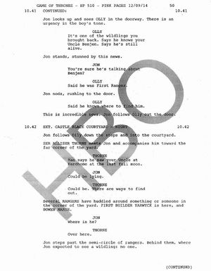 Game of Thrones Jon Snow's death script page 2