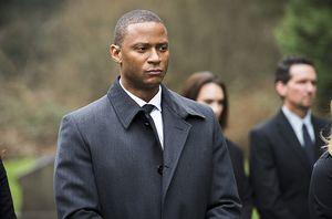 John Diggle at Laurel Lance's funeral