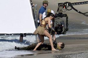 Gal Gadot saves Chris Pine on the set of Wonder Woman