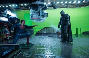 Epic behind the scenes shot of Batman and Superman