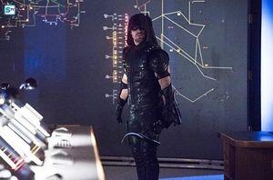 Green Arrow in Arrow lair (background Rubicon schematics)