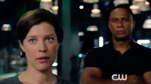 Lyla & John Diggle in Arrow lair