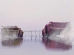 Concept Art depicts Lightning McQueen receiving a fresh new