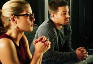 Felicity Smoak and Oliver Queen in Arrow lair