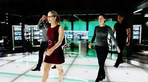 Original Team Arrow + Lyla Diggle in lair