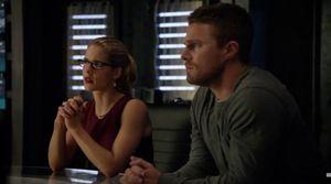 Felicity Smoak and Oliver Queen in Arrow lair