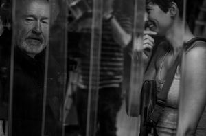 An on set photo of film director Ridley Scott with Katherine