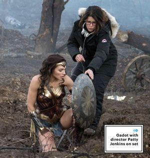 Gal Gadot on the set of Wonder Woman