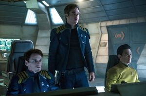 Anton Yelchin, Chris Pine and John Cho in