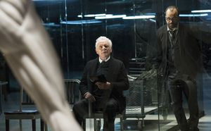 Anthony Hopkins as Dr. Robert Ford and Jeffrey Wright as Ber
