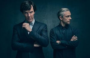 Benedict Cumberbatch and Martin Freeman in the first photo o