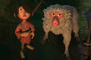 Kubo (Art Parkinson) and Monkey (Charlize Theron) in