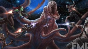 The team takes on a monster in new concept art for Guardians