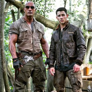 Dwayne Johnson and Nick Jonas on the set of Jumanji