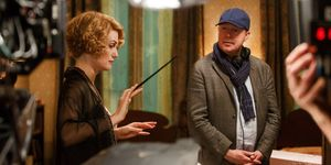 David Yates on the set of Fantastic Beasts