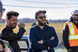 Dominic Cooper and Seth Rogan on the Set of Preacher