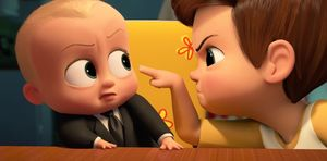 The Boss Baby (voiced by Alec Baldwin) and older brother Timmy in